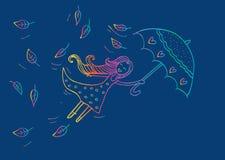 Девушка осени летания иллюстрация штока