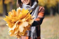 Девушка осени идя в парк города Портрет счастливой симпатичной и красивой молодой женщины в лесе в цветах падения Фокус дальше Стоковые Фотографии RF