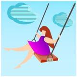 Девушка на качании иллюстрация штока