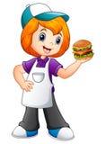 Девушка официантки фаст-фуда показывая гамбургер иллюстрация штока