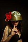 Девушка очарования в шлеме Стоковая Фотография