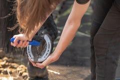 Девушка очищает horse& x27; копыто s перед тренируя outdoors стоковая фотография rf
