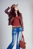 Девушка одетая в стиле ковбоя Стоковые Фото