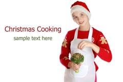 Девушка одетая как эльф рождества на предпосылке Стоковое Изображение RF