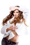 девушка пальто сексуальная Стоковые Фотографии RF