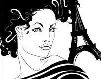 девушка парижская иллюстрация вектора