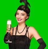 Девушка партии стиля Арт Деко на зеленой предпосылке экрана Стоковые Изображения RF