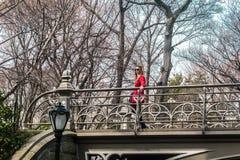Девушка пересекая мост на Central Park в Манхаттане, Ci Нью-Йорка Стоковая Фотография RF
