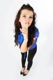 девушка перста ее губы к Стоковое Изображение RF