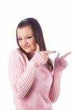 девушка перстов указывая довольно Стоковые Изображения RF