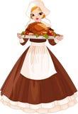Девушка пилигрима с плитой Стоковые Изображения