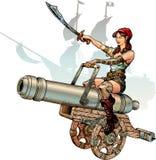 Девушка пирата красоты Иллюстрация вектора
