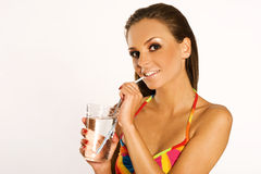 девушка питья Стоковые Изображения RF