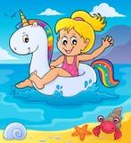 Девушка плавая на раздувной единорога 2 иллюстрация вектора