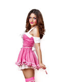 девушка платья вручает ее пинк lollipop Стоковая Фотография
