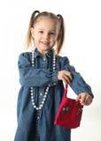 девушка платья играя preschool вверх Стоковые Изображения