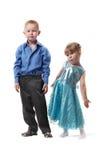 девушка платья мальчика официально стоковая фотография