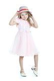 девушка платья немногая усмехаться пинка Стоковая Фотография