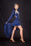 девушка платья предпосылки черная голубая Стоковое фото RF