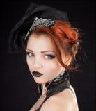 девушка платья предпосылки черная голубая Стоковая Фотография RF