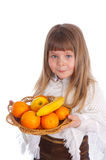 девушка плодоовощ немногая белое Стоковые Фото