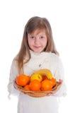 девушка плодоовощ немногая белое Стоковые Фотографии RF