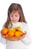 девушка плодоовощ немногая белое Стоковое Изображение
