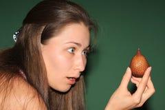 девушка плодоовощ удивила Стоковое Изображение RF
