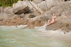 девушка пляжа красивейшая тропическая Стоковое Изображение