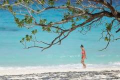 девушка пляжа тропическая Стоковые Изображения RF