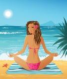 девушка пляжа иллюстрация штока