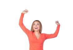 Девушка победителя с светлыми волосами стоковая фотография rf