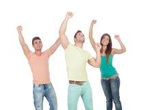 Девушка победителя милая с 2 красивыми мальчиками Стоковые Фотографии RF