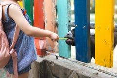 Девушка подает козы на ферме Стоковые Фотографии RF