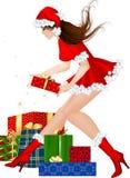 девушка подарка рождества брюнет Стоковая Фотография RF