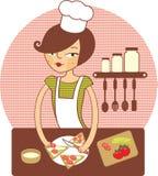 девушка подготовляя детенышей сандвича бесплатная иллюстрация