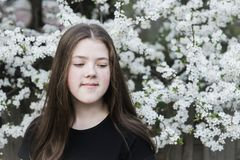 Девушка подростка в цветении Стоковое Фото