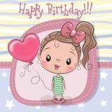 Девушка поздравительной открытки с воздушным шаром иллюстрация вектора