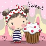 Девушка поздравительной открытки милая с тортом иллюстрация вектора
