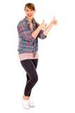 Девушка показывая большие пальцы руки вверх Стоковые Изображения RF