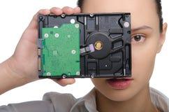 Девушка покрывая ее глаза HDD стоковое изображение