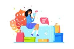 Девушка покупает онлайн с smartphone, покупками сети иллюстрация штока