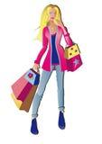 Девушка покупкы способа бесплатная иллюстрация