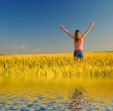 девушка поля около воды Стоковая Фотография RF