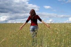 девушка поля Стоковые Изображения