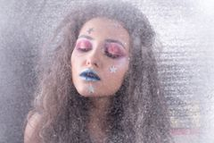 Девушка портрета зимы привлекательная в ярком составе Стоковые Фотографии RF