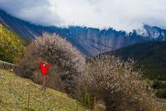 Девушка портрета молодая милая нося красные горы Himalays куртки Точка зрения вулкана утра природы Азии Гора trekking Стоковая Фотография