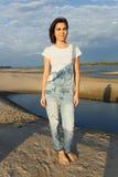 Девушка портрета на пляже Стоковое Изображение