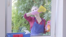Девушка портрета прелестная белокурая в голубой рисберме моя окно с ветошью окна в комнате Положительный эконом очищает акции видеоматериалы