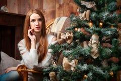 Девушка портрета рождества Стоковые Изображения